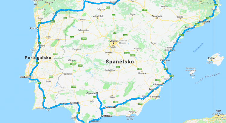 Mapa roadtripu Španělskem